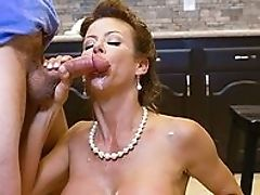 Big Tits, Blowjob, Doggystyle, Facial, Fake Tits, First Timer, From Behind, HD, Kitchen, MILF,