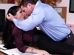 Babe, Blowjob, Brunette, Clothed Sex, Desk, From Behind, Hardcore, Licking, Office, Rebeca Linares,