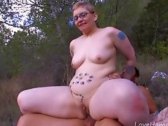 Babe, Chubby, Couple, Curvy, Forest, Glasses, Natural Tits, Outdoor, Shorts, Tattoo,
