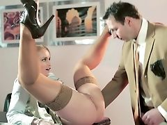 Babe, Blonde, Clothed Sex, Cute, Czech, Desk, European, From Behind, Hardcore, Horny,