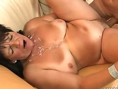 Big Ass, Big Cock, Big Tits, Blowjob, Boots, Brunette, Creampie, Cum In Mouth, Extreme, Granny,