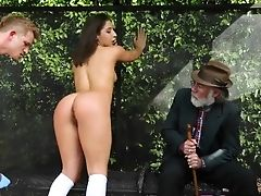 Bus, Fucking, Hardcore, Natural Tits, Outdoor, Public, Pussy, Shaved Pussy, Teen,