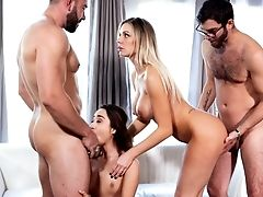 Cum Swallowing, Foursome, Group Sex, Hardcore, Pornstar, Swinger,