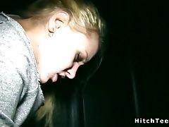 Blonde, Hitchhiker, Outdoor, Public, Russian, Teen,