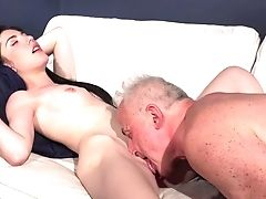 Babe, Blowjob, Brunette, Clit, Couch, Cowgirl, Cum In Mouth, Dick, Doggystyle, Grandpa,