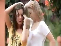 Blonde, Brunette, Game, Lesbian, Outdoor, Teen, Wet,