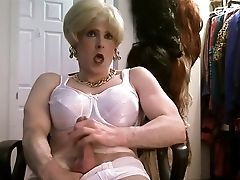 Blonde, Bra, Crossdressing, Jerking, White,