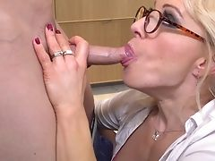 Blonde, Blowjob, Bra, Couple, Glasses, Gorgeous, Hardcore, Kitchen, Lingerie, Mature,
