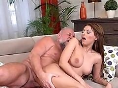 Ass, Blowjob, Brunette, Couch, Cum On Ass, Doggystyle, From Behind, Hardcore, HD, Natural Tits,