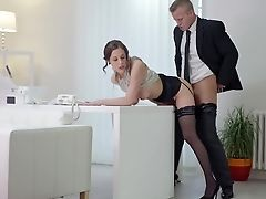 Babe, Beauty, Clothed Sex, Desk, European, From Behind, Hardcore, Licking, Lingerie, Office,