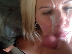 Blonde, Couple, Cum, Cum Swallowing, Cumshot, Facial, Hardcore, Nylon, Panties, Wife,