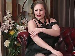 Big Tits, Brunette, Classic, Retro, Solo, Stockings, Vintage,