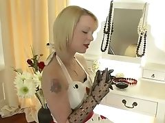 Blonde, Masturbation, Stockings,
