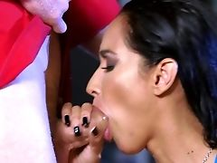 Big Tits, Blowjob, Brunette, Couch, Deepthroat, Fake Tits, HD, Isis Love, Moaning, Oiled,