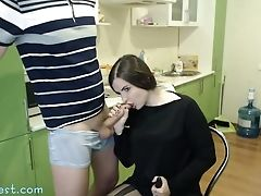 Blowjob, Boyfriend, Brunette, Clothed Sex, Couple, Handjob, Hardcore, Kitchen, Sex Toys, Teen,